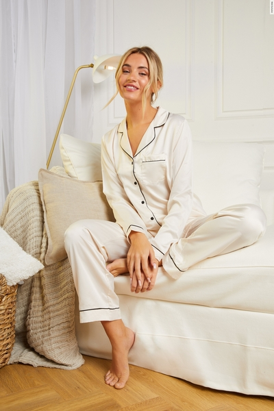Ivory Satin Long Pyjama Set
